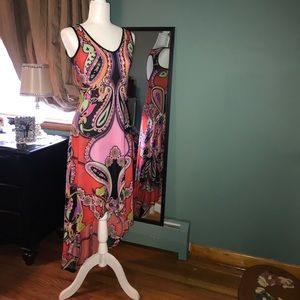 Multi-colored high low dress
